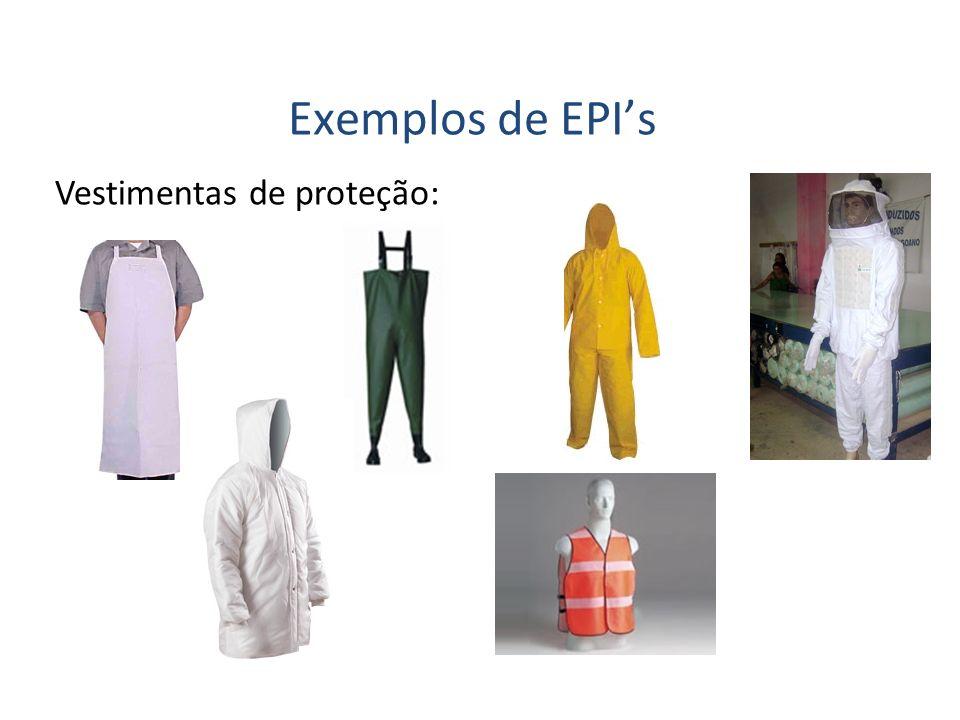 Vestimentas de proteção: Exemplos de EPIs