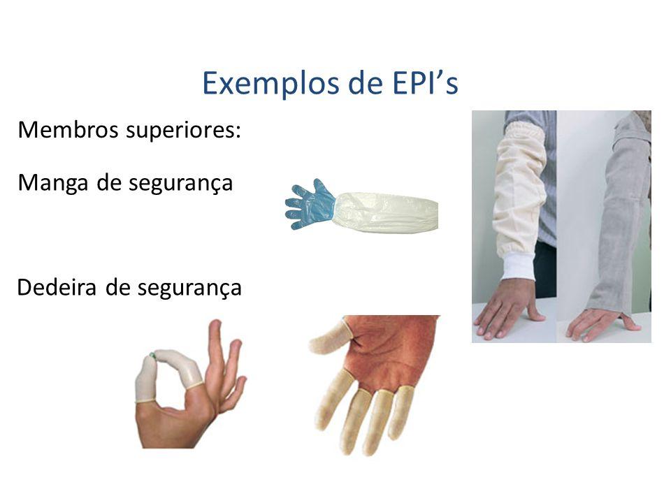 Membros superiores: Exemplos de EPIs Manga de segurança Dedeira de segurança