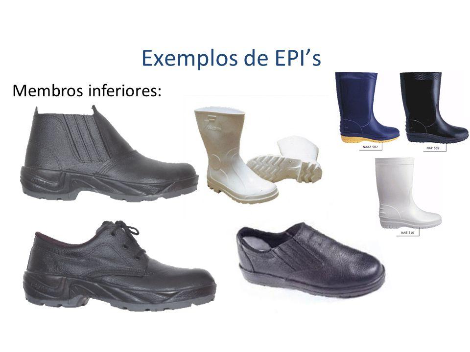 Membros inferiores: Exemplos de EPIs