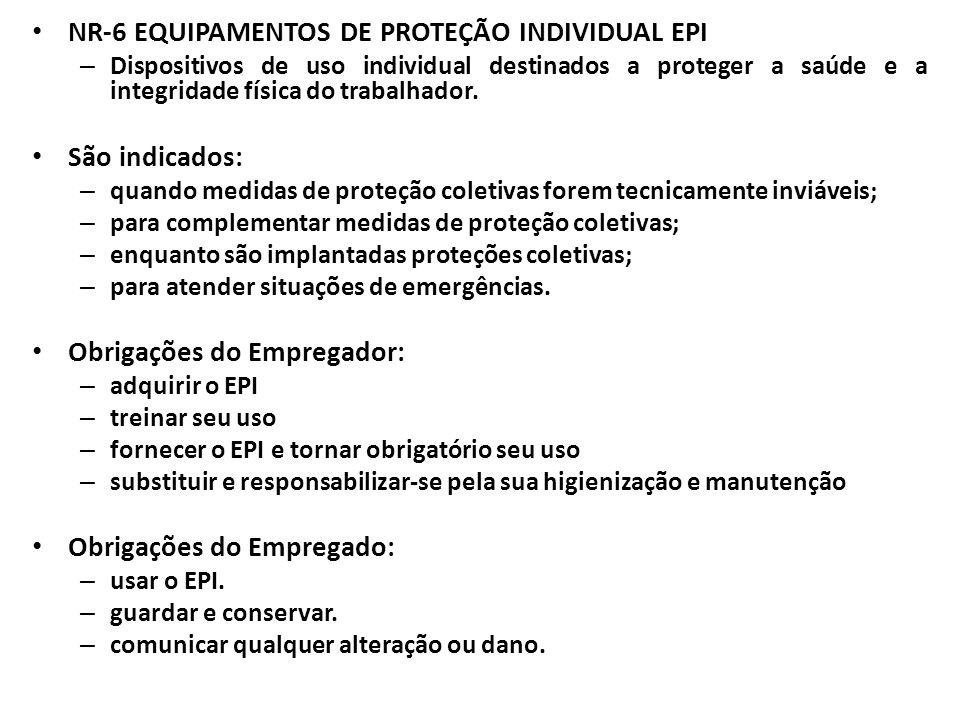 NR-6 EQUIPAMENTOS DE PROTEÇÃO INDIVIDUAL EPI – Dispositivos de uso individual destinados a proteger a saúde e a integridade física do trabalhador. São