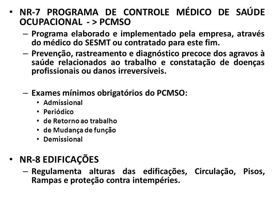 NR-7 PROGRAMA DE CONTROLE MÉDICO DE SAÚDE OCUPACIONAL - > PCMSO – Programa elaborado e implementado pela empresa, através do médico do SESMT ou contra