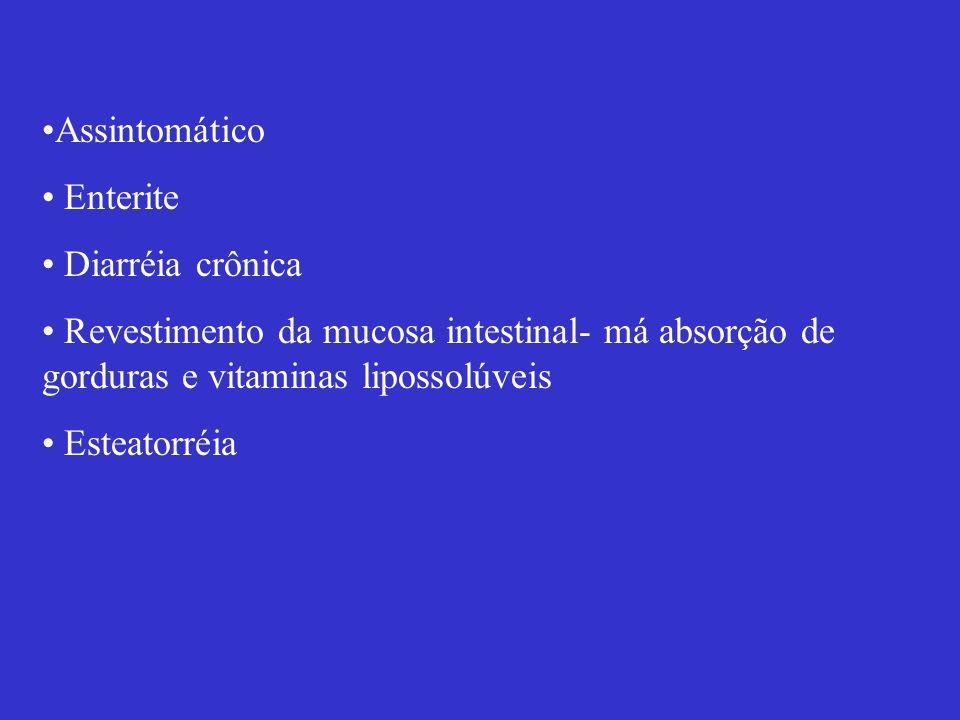 Assintomático Enterite Diarréia crônica Revestimento da mucosa intestinal- má absorção de gorduras e vitaminas lipossolúveis Esteatorréia