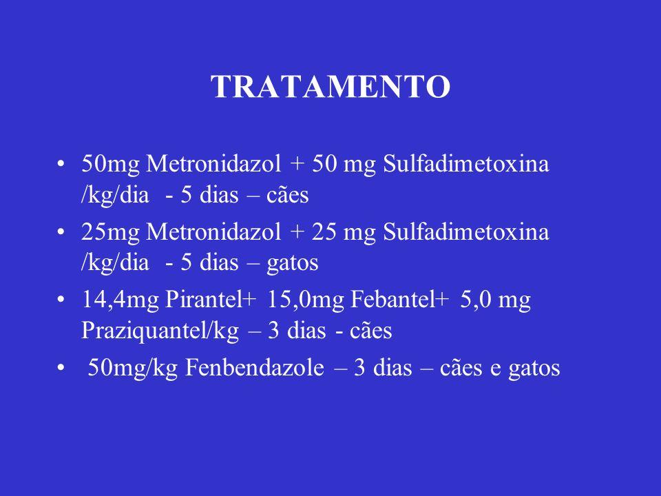 TRATAMENTO 50mg Metronidazol + 50 mg Sulfadimetoxina /kg/dia - 5 dias – cães 25mg Metronidazol + 25 mg Sulfadimetoxina /kg/dia - 5 dias – gatos 14,4mg