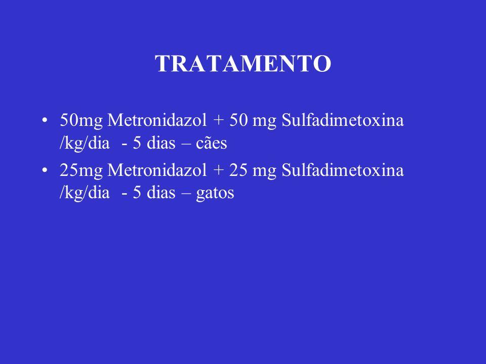TRATAMENTO 50mg Metronidazol + 50 mg Sulfadimetoxina /kg/dia - 5 dias – cães 25mg Metronidazol + 25 mg Sulfadimetoxina /kg/dia - 5 dias – gatos