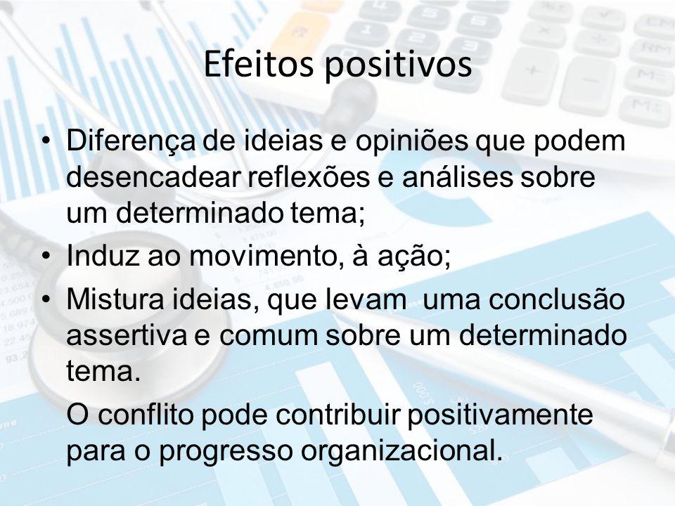 Efeitos positivos Diferença de ideias e opiniões que podem desencadear reflexões e análises sobre um determinado tema; Induz ao movimento, à ação; Mis