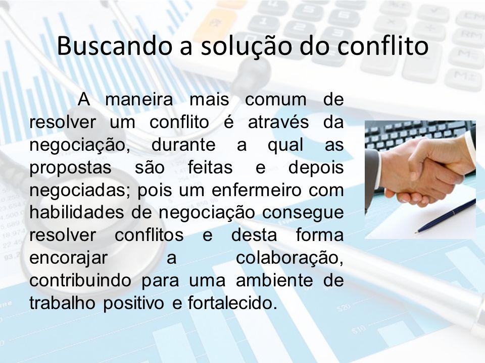 Buscando a solução do conflito A maneira mais comum de resolver um conflito é através da negociação, durante a qual as propostas são feitas e depois n