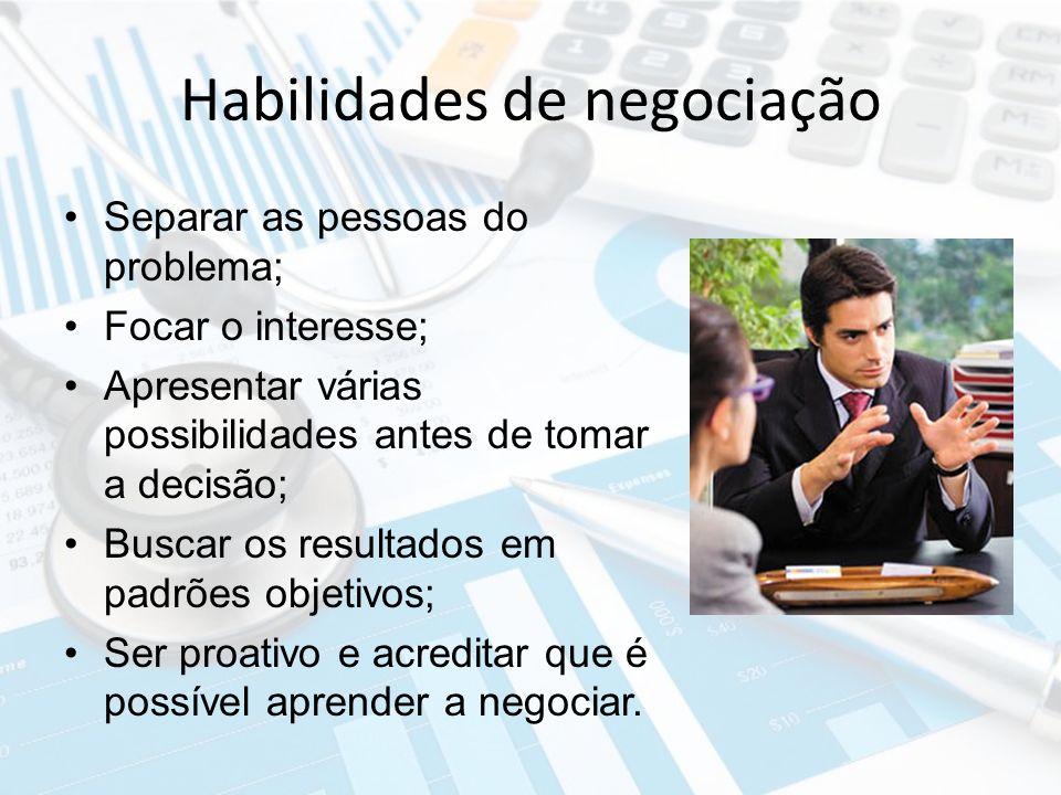 Habilidades de negociação Separar as pessoas do problema; Focar o interesse; Apresentar várias possibilidades antes de tomar a decisão; Buscar os resu