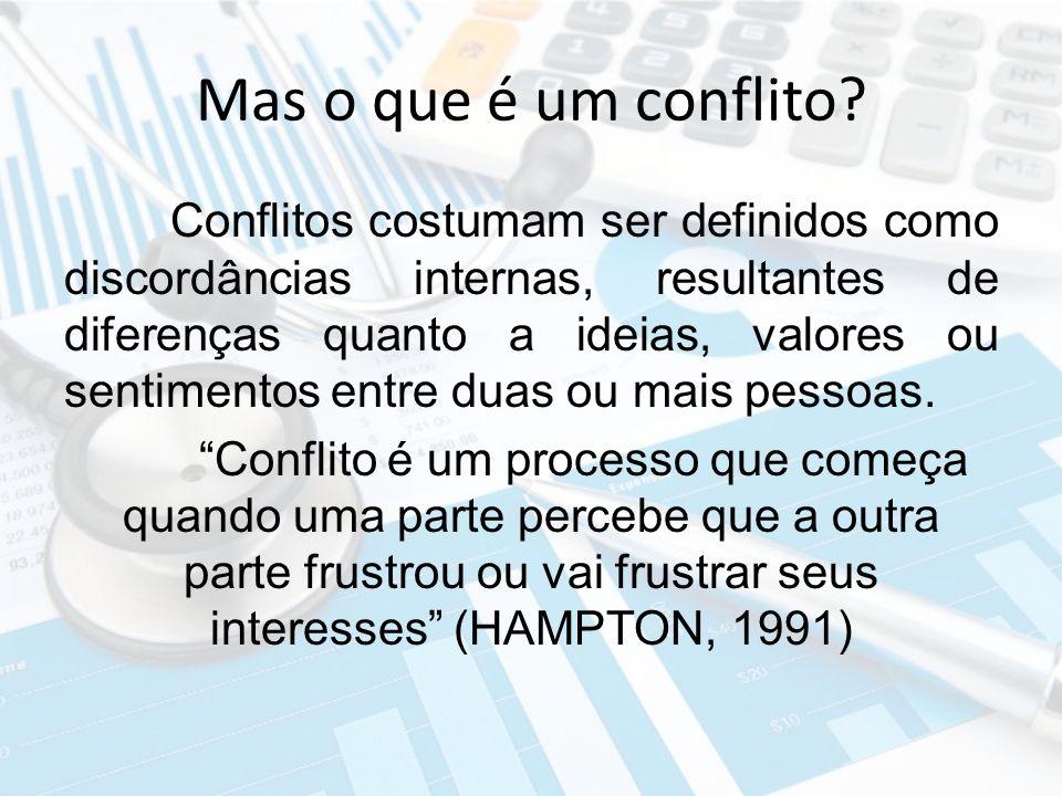 Mas o que é um conflito? Conflitos costumam ser definidos como discordâncias internas, resultantes de diferenças quanto a ideias, valores ou sentiment