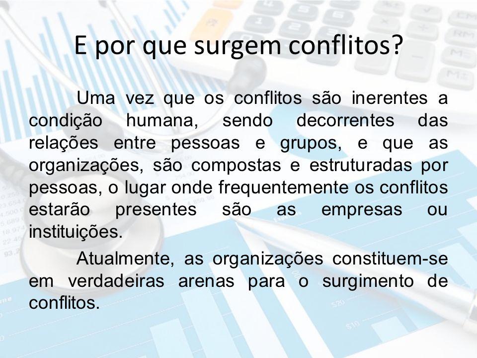 E por que surgem conflitos? Uma vez que os conflitos são inerentes a condição humana, sendo decorrentes das relações entre pessoas e grupos, e que as