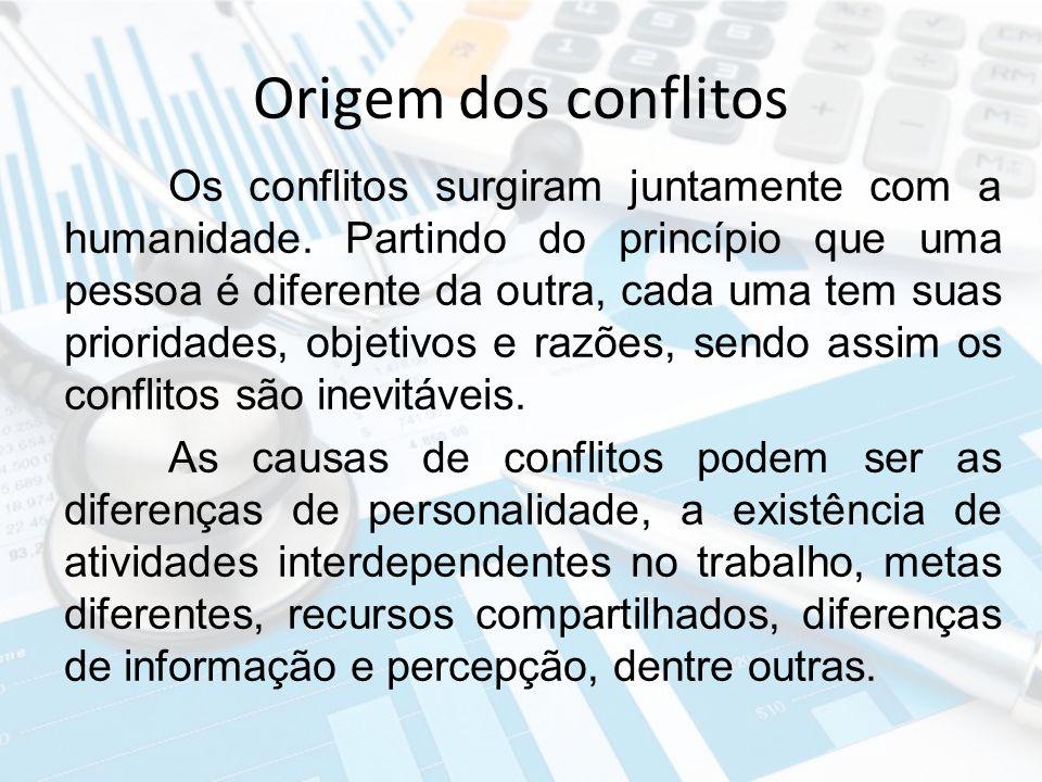 Origem dos conflitos Os conflitos surgiram juntamente com a humanidade. Partindo do princípio que uma pessoa é diferente da outra, cada uma tem suas p