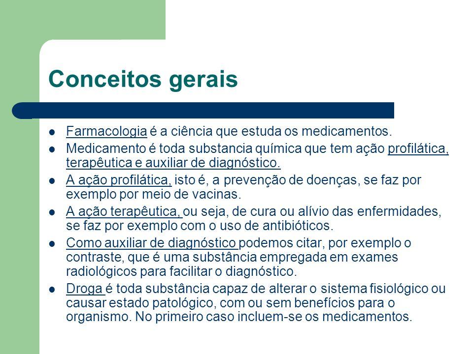 Conceitos gerais Farmacologia é a ciência que estuda os medicamentos. Medicamento é toda substancia química que tem ação profilática, terapêutica e au
