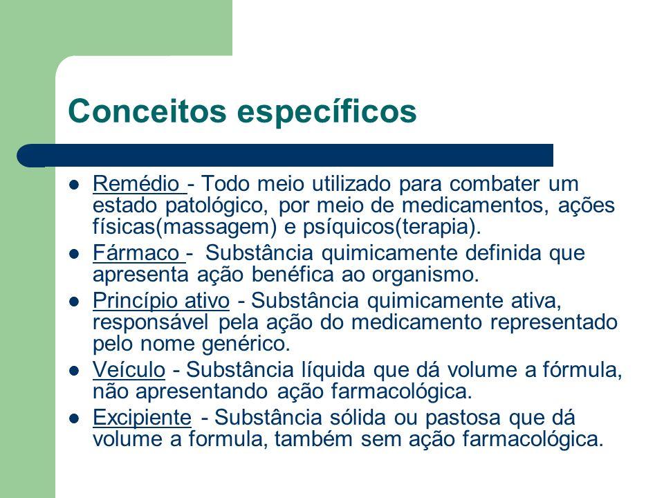 Conceitos específicos Remédio - Todo meio utilizado para combater um estado patológico, por meio de medicamentos, ações físicas(massagem) e psíquicos(
