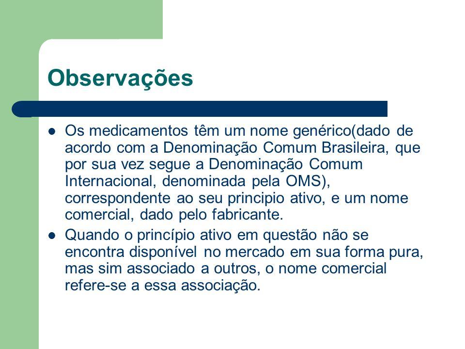 Observações Os medicamentos têm um nome genérico(dado de acordo com a Denominação Comum Brasileira, que por sua vez segue a Denominação Comum Internac