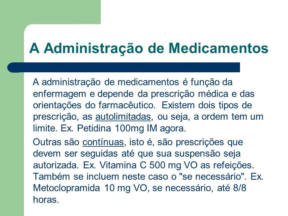 A Administração de Medicamentos A administração de medicamentos é função da enfermagem e depende da prescrição médica e das orientações do farmacêutic