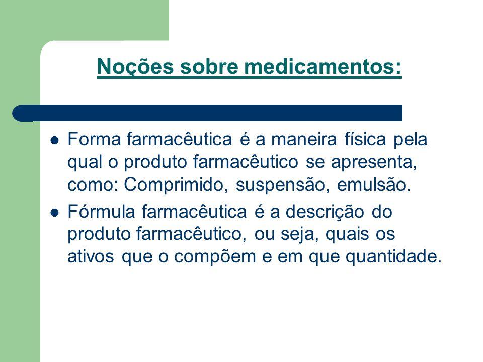 Noções sobre medicamentos: Forma farmacêutica é a maneira física pela qual o produto farmacêutico se apresenta, como: Comprimido, suspensão, emulsão.