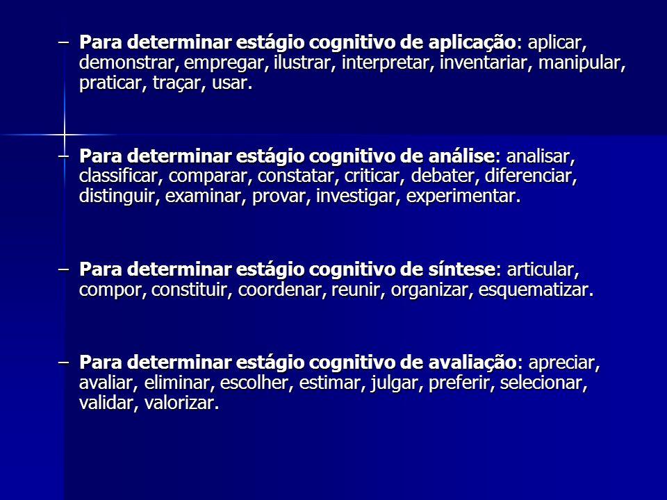 –Para determinar estágio cognitivo de aplicação: aplicar, demonstrar, empregar, ilustrar, interpretar, inventariar, manipular, praticar, traçar, usar.