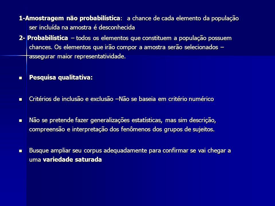 1-Amostragem não probabilística: a chance de cada elemento da população ser incluída na amostra é desconhecida 2- Probabilística – todos os elementos