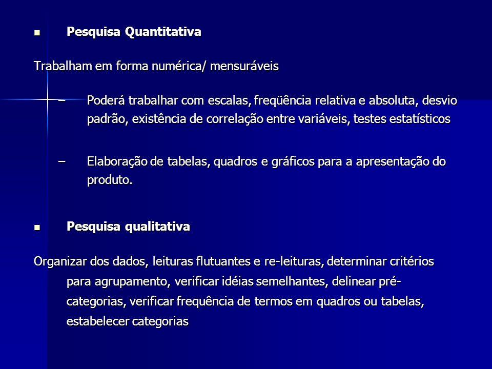 Pesquisa Quantitativa Pesquisa Quantitativa Trabalham em forma numérica/ mensuráveis –Poderá trabalhar com escalas, freqüência relativa e absoluta, de