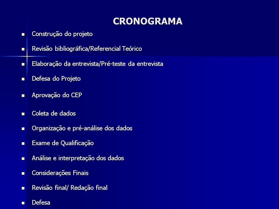 CRONOGRAMA Construção do projeto Construção do projeto Revisão bibliográfica/Referencial Teórico Revisão bibliográfica/Referencial Teórico Elaboração