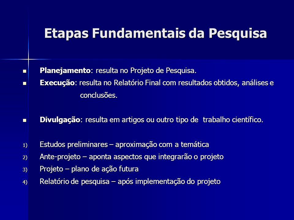 Etapas Fundamentais da Pesquisa Planejamento: resulta no Projeto de Pesquisa. Planejamento: resulta no Projeto de Pesquisa. Execução: resulta no Relat