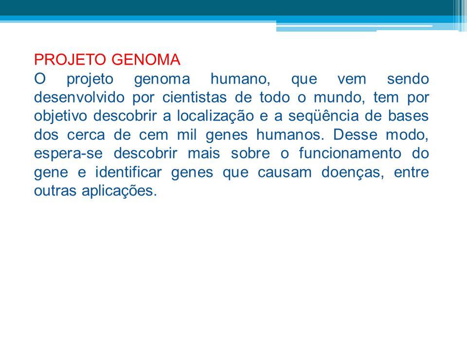 PROJETO GENOMA O projeto genoma humano, que vem sendo desenvolvido por cientistas de todo o mundo, tem por objetivo descobrir a localização e a seqüên