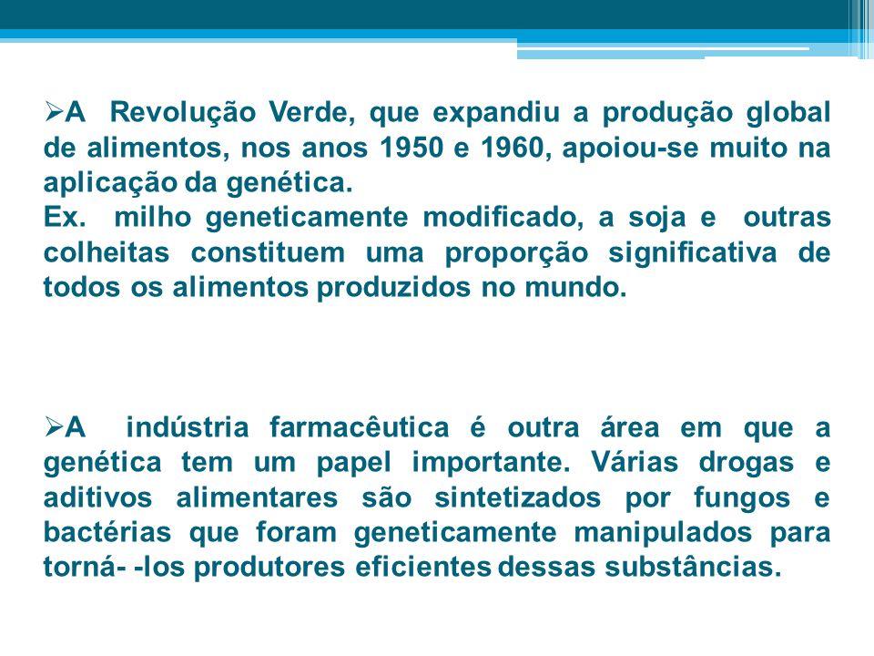 A Revolução Verde, que expandiu a produção global de alimentos, nos anos 1950 e 1960, apoiou-se muito na aplicação da genética. Ex. milho geneticament