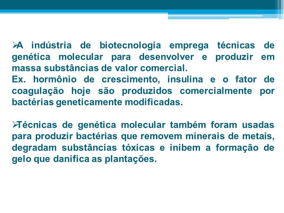 A indústria de biotecnologia emprega técnicas de genética molecular para desenvolver e produzir em massa substâncias de valor comercial. Ex. hormônio