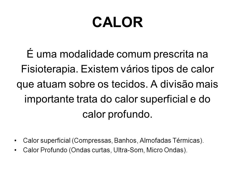 CALOR O calor também pode ser dividido de acordo com a transferência para o interior dos tecidos Transferência de Calor Condução.