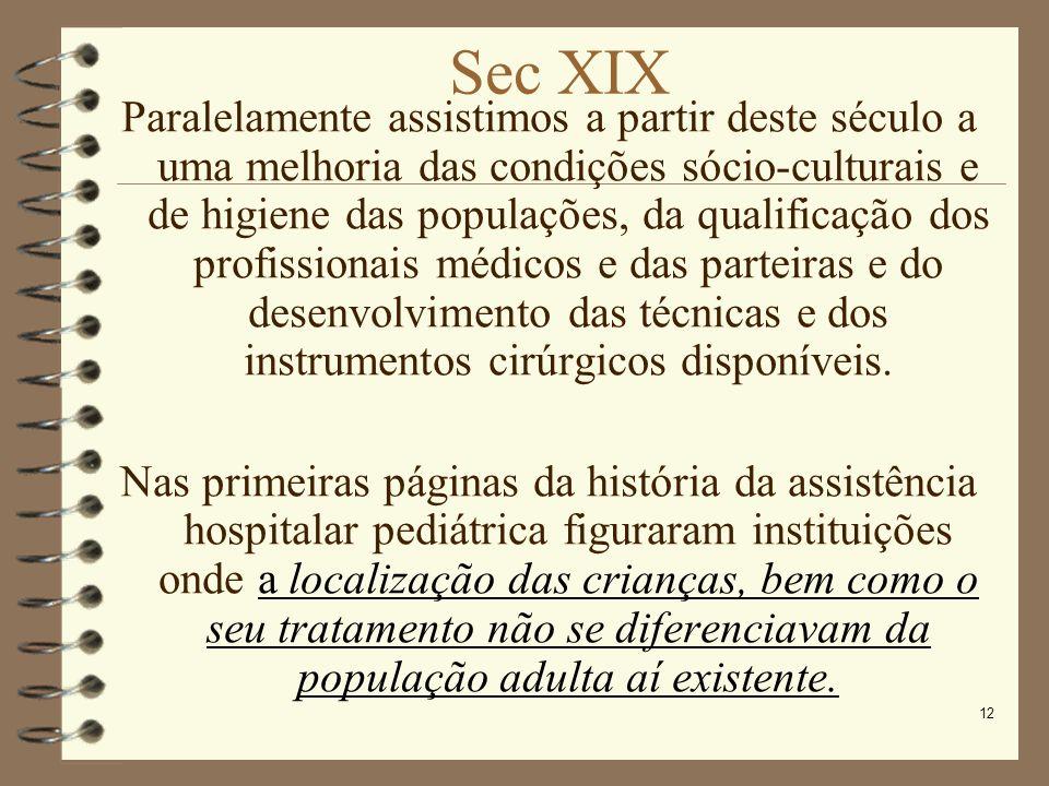 12 Sec XIX Paralelamente assistimos a partir deste século a uma melhoria das condições sócio-culturais e de higiene das populações, da qualificação do