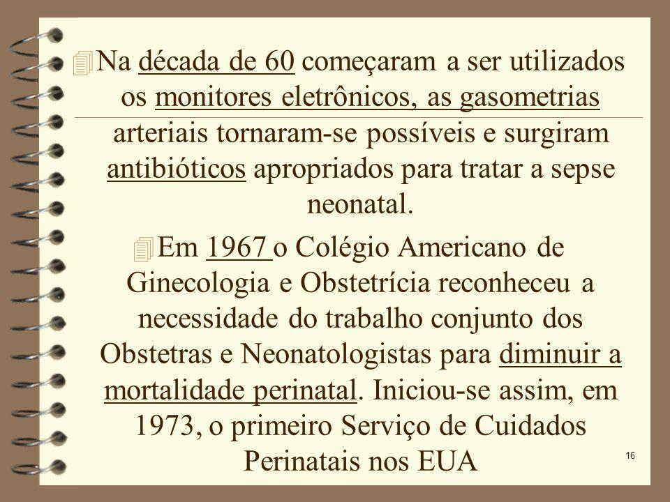 16 Na década de 60 começaram a ser utilizados os monitores eletrônicos, as gasometrias arteriais tornaram-se possíveis e surgiram antibióticos apropri
