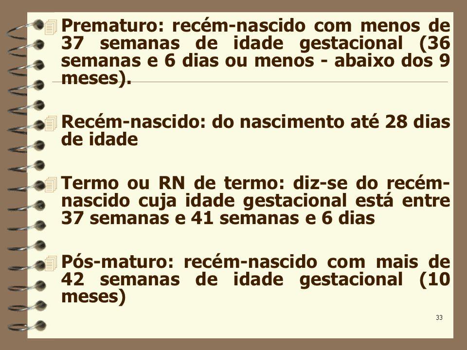 33 Prematuro: recém-nascido com menos de 37 semanas de idade gestacional (36 semanas e 6 dias ou menos - abaixo dos 9 meses). Recém-nascido: do nascim