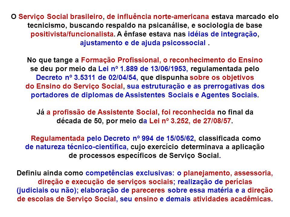 O Serviço Social brasileiro, de influência norte-americana estava marcado elo tecnicismo, buscando respaldo na psicanálise, e sociologia de base posit