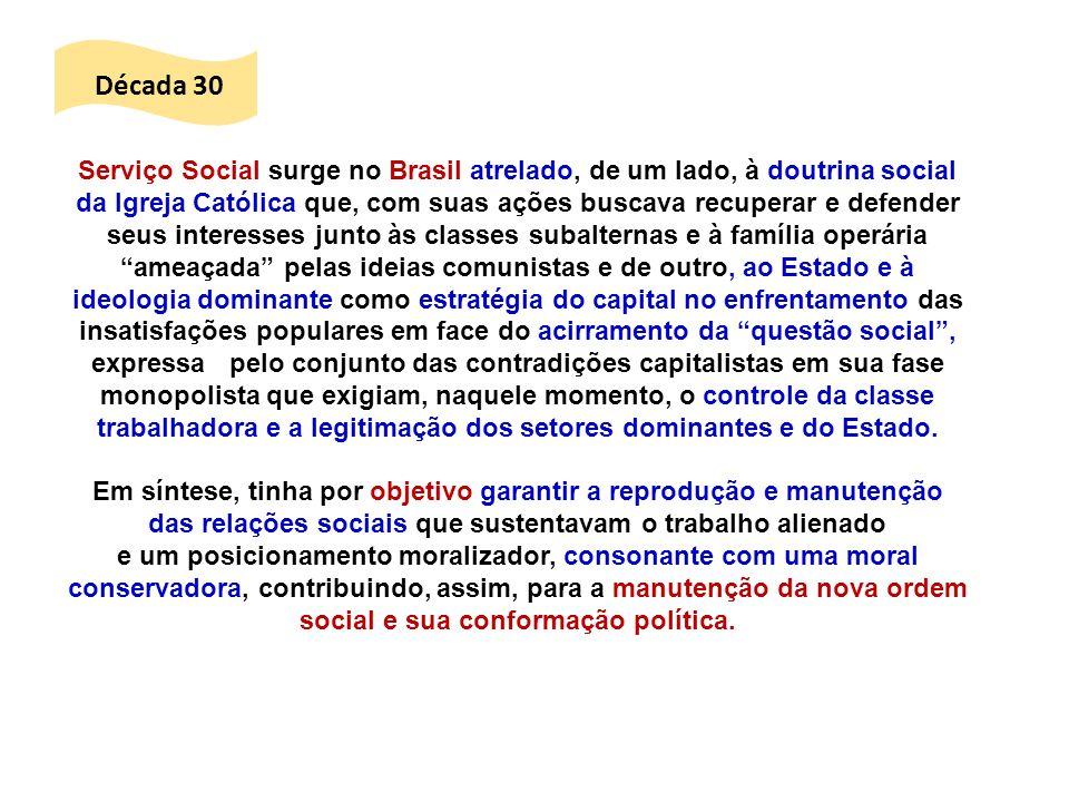 Serviço Social surge no Brasil atrelado, de um lado, à doutrina social da Igreja Católica que, com suas ações buscava recuperar e defender seus intere