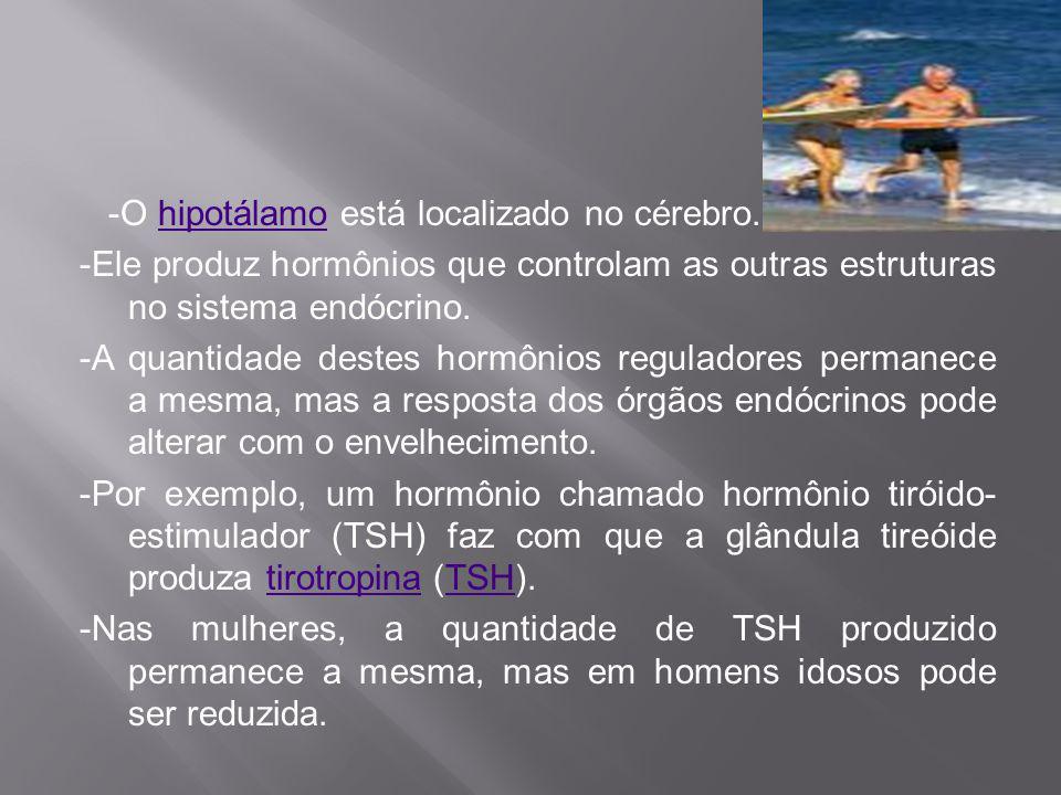 -O hipotálamo está localizado no cérebro.hipotálamo -Ele produz hormônios que controlam as outras estruturas no sistema endócrino. -A quantidade deste