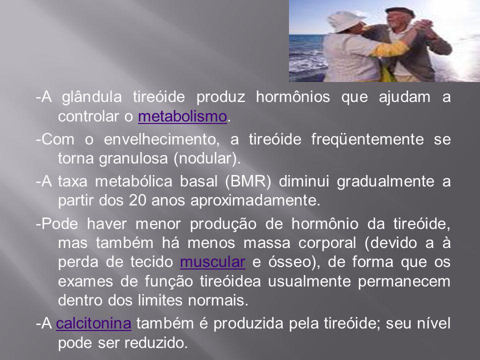 -A glândula tireóide produz hormônios que ajudam a controlar o metabolismo.metabolismo -Com o envelhecimento, a tireóide freqüentemente se torna granu