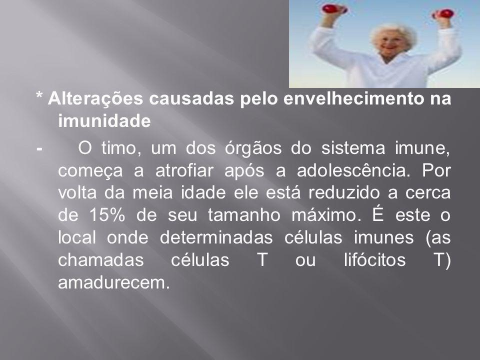 * Alterações causadas pelo envelhecimento na imunidade - O timo, um dos órgãos do sistema imune, começa a atrofiar após a adolescência. Por volta da m