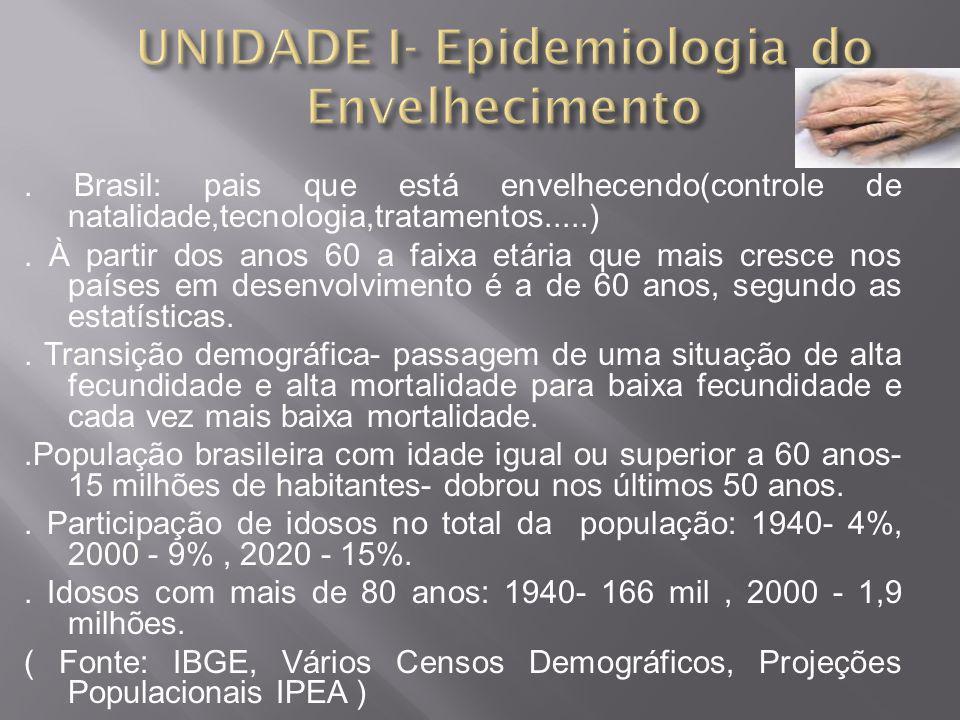 . Brasil: pais que está envelhecendo(controle de natalidade,tecnologia,tratamentos.....). À partir dos anos 60 a faixa etária que mais cresce nos país