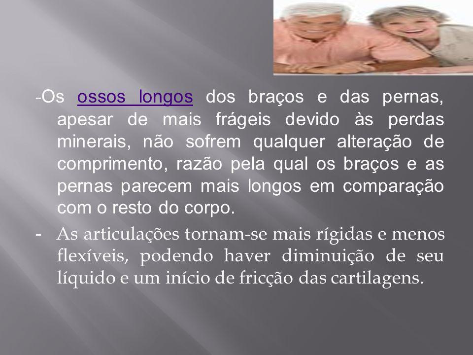 - Os ossos longos dos braços e das pernas, apesar de mais frágeis devido às perdas minerais, não sofrem qualquer alteração de comprimento, razão pela