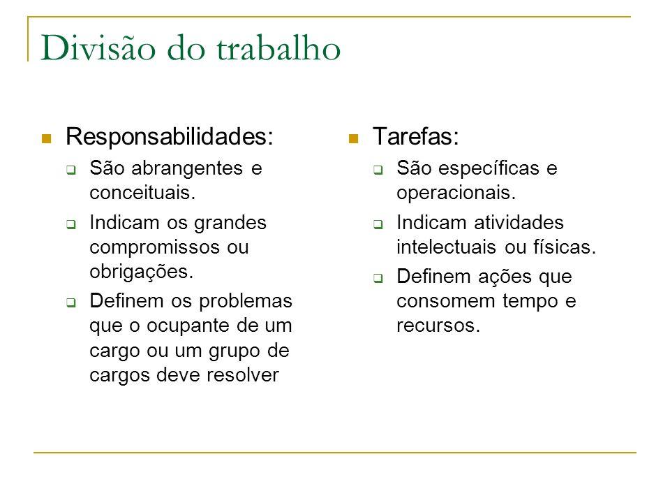 Divisão do trabalho Responsabilidades: São abrangentes e conceituais. Indicam os grandes compromissos ou obrigações. Definem os problemas que o ocupan
