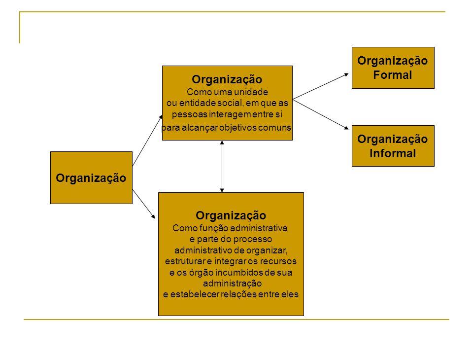 Organização Como uma unidade ou entidade social, em que as pessoas interagem entre si para alcançar objetivos comuns Organização Como função administr
