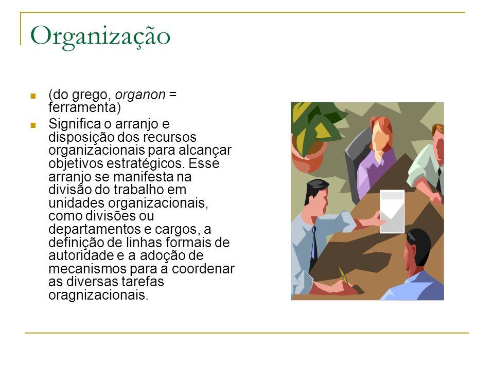 Organização (do grego, organon = ferramenta) Significa o arranjo e disposição dos recursos organizacionais para alcançar objetivos estratégicos. Esse