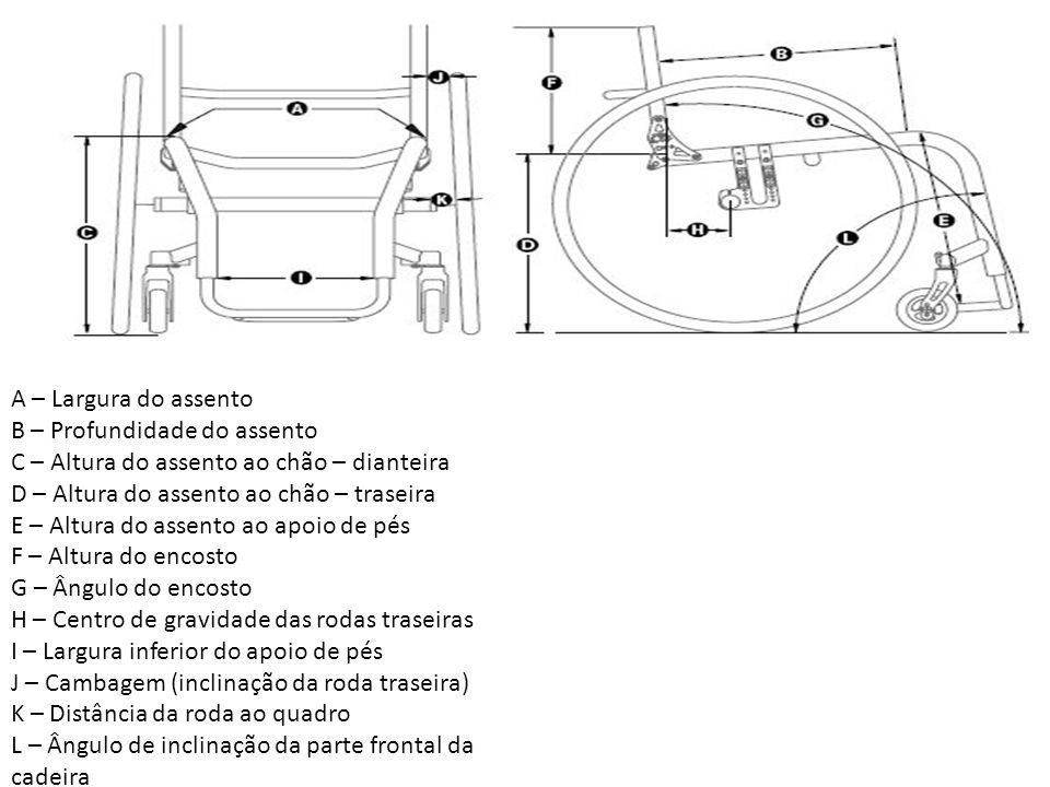 A – Largura do assento B – Profundidade do assento C – Altura do assento ao chão – dianteira D – Altura do assento ao chão – traseira E – Altura do as