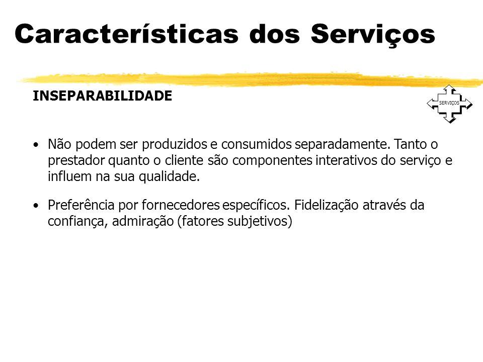 Características dos Serviços SERVIÇOS INSEPARABILIDADE Não podem ser produzidos e consumidos separadamente. Tanto o prestador quanto o cliente são com