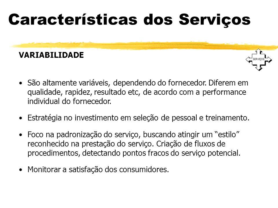 Características dos Serviços SERVIÇOS VARIABILIDADE São altamente variáveis, dependendo do fornecedor. Diferem em qualidade, rapidez, resultado etc, d