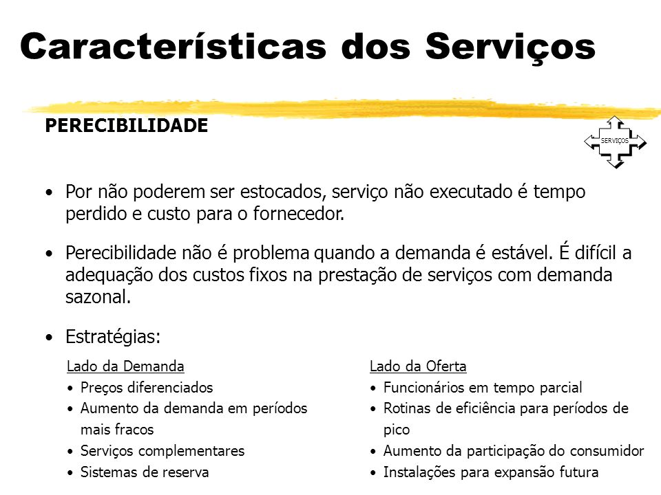 Características dos Serviços SERVIÇOS PERECIBILIDADE Por não poderem ser estocados, serviço não executado é tempo perdido e custo para o fornecedor. P