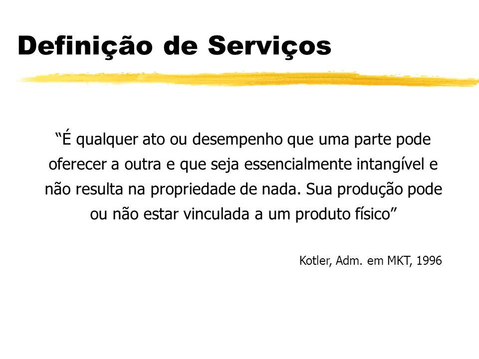 Definição de Serviços É qualquer ato ou desempenho que uma parte pode oferecer a outra e que seja essencialmente intangível e não resulta na proprieda