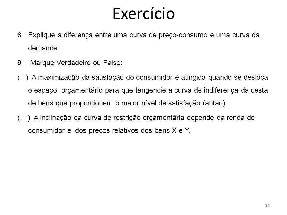 Exercício 8Explique a diferença entre uma curva de preço-consumo e uma curva da demanda 9 Marque Verdadeiro ou Falso: ( ) A maximização da satisfação