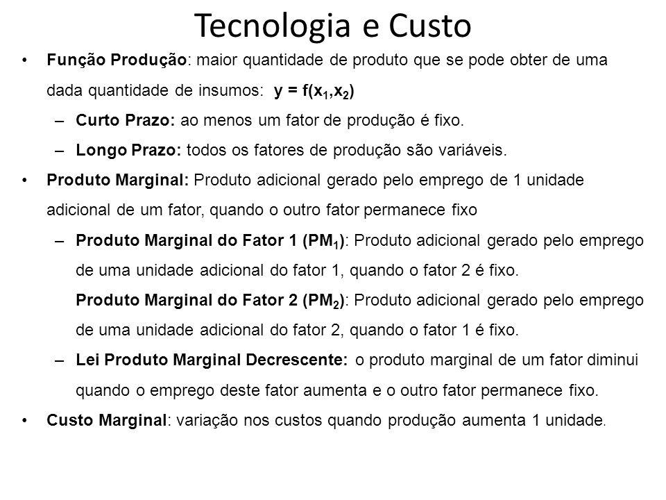 Tecnologia e Custo Função Produção: maior quantidade de produto que se pode obter de uma dada quantidade de insumos: y = f(x 1,x 2 ) –Curto Prazo: ao