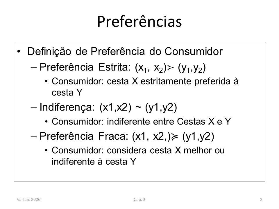 Preferências Definição de Preferência do Consumidor –Preferência Estrita: (x 1, x 2 ) (y 1,y 2 ) Consumidor: cesta X estritamente preferida à cesta Y