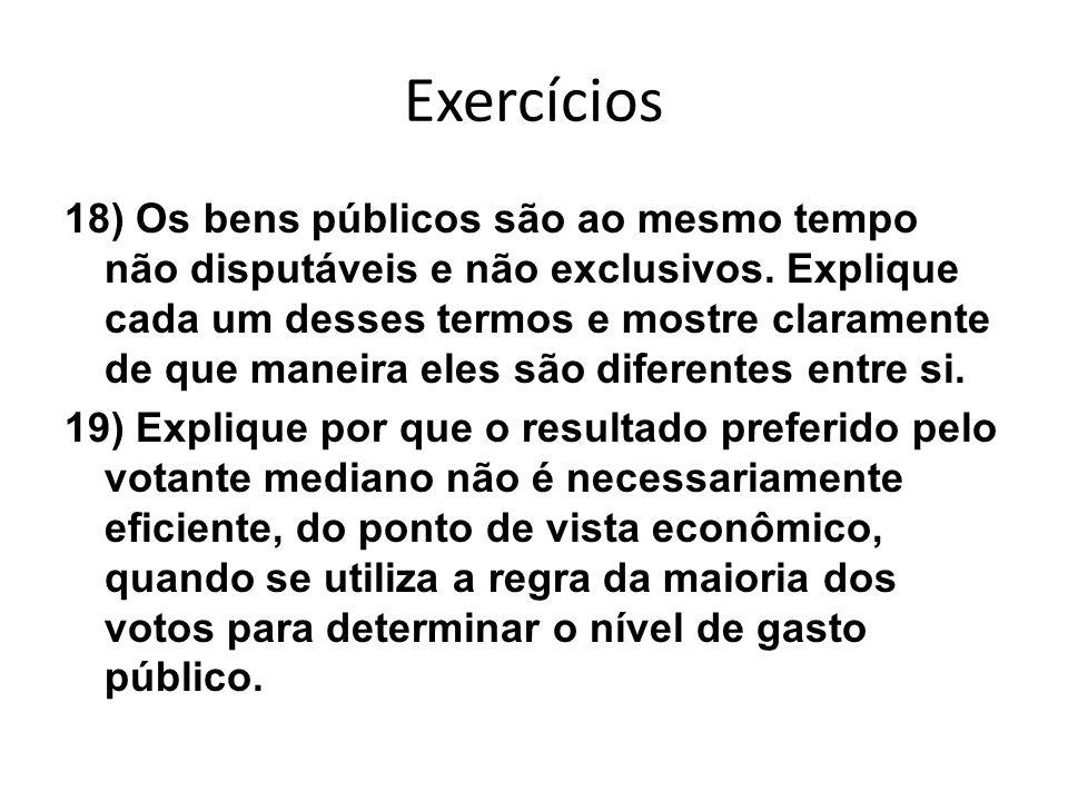 Exercícios 18) Os bens públicos são ao mesmo tempo não disputáveis e não exclusivos. Explique cada um desses termos e mostre claramente de que maneira